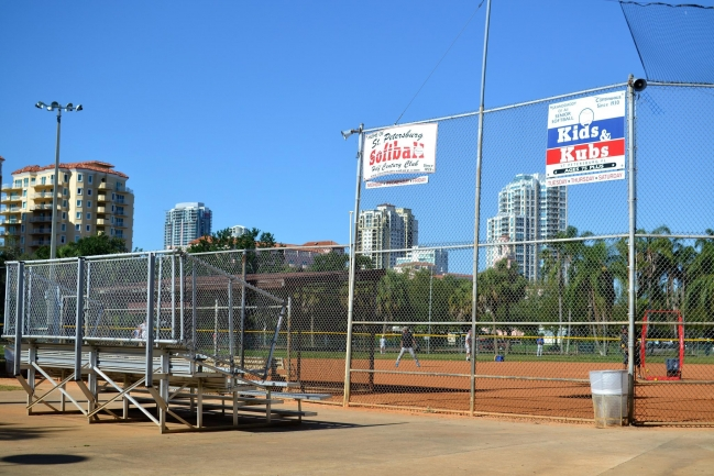 A short walk to Vinoy Park to watch softball and baseball games in Downtown St Petersburg Florida