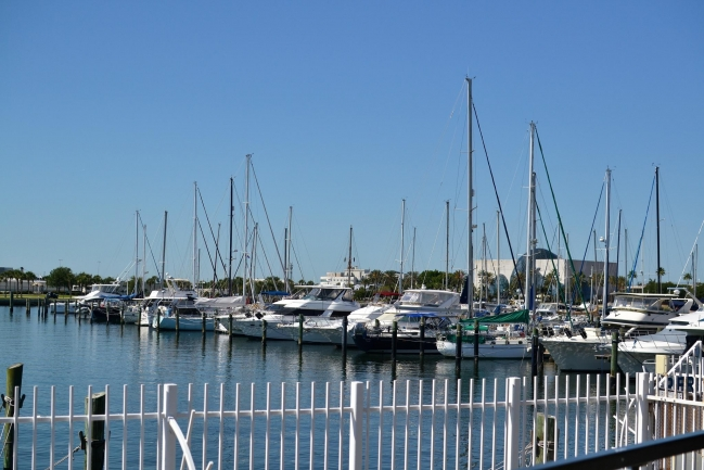 Docking and sailboat training at Demens Landing in Downtown St Petersburg Florida a short walk from Bayfront Towers