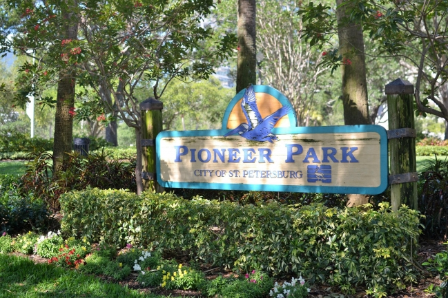 Directly in front of Bayfront Towers is Pioneer Park,  named after the founders of St Pete and is one of many pristine parks in Downtown St Petersburg Florida
