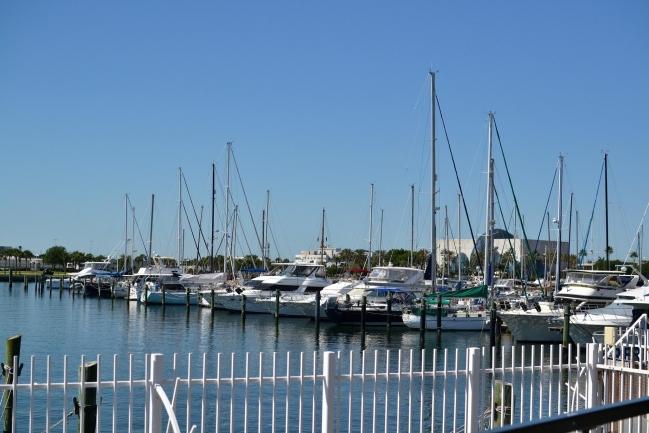 Docking or sail boat training at Demens Landing in Downtown St Petersburg Florida