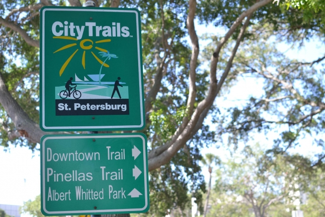 City Trails are located throughout Downtown St Petersburg making it a very bicycle and pedestrian friendly city
