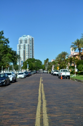 Downtown St Petersburg Florida has a mix of paved and charming brick lined streets