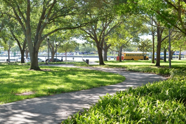 Shady North Straub Park is steps away from Florencia Condos in Downtown St Petersburg Florida