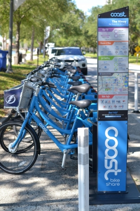 Rent a bicycle from Coast Bike Share and see all of  Downtown St Petersburg Florida