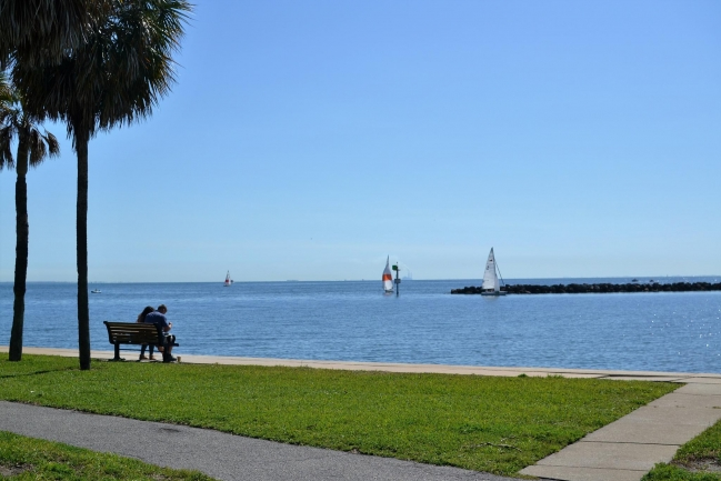 Enjoy serene water views from Demens Landing Park a short walk from Hunting Townhomes in Downtown St Petersburg Florida
