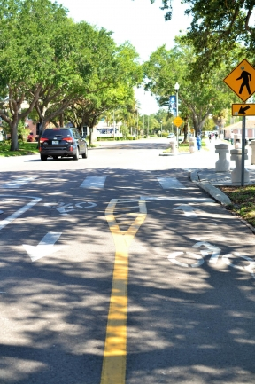 Dedicated bicycle lanes make Downtown St Petersburg safe for cyclists